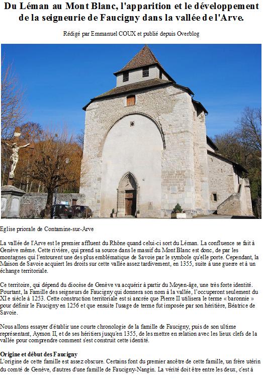 Du Léman au Mont Blanc, l'apparition et le développement de la seigneurie de Faucigny dans la vallée de l'Arve.