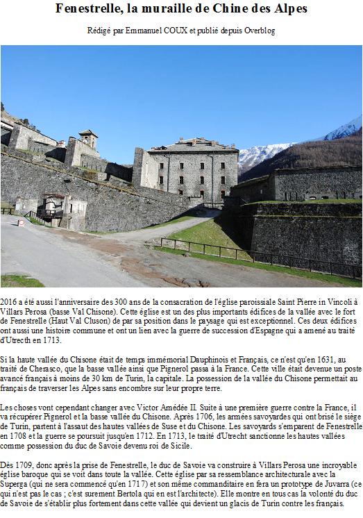 Fenestrelle, la muraille de Chine des Alpes
