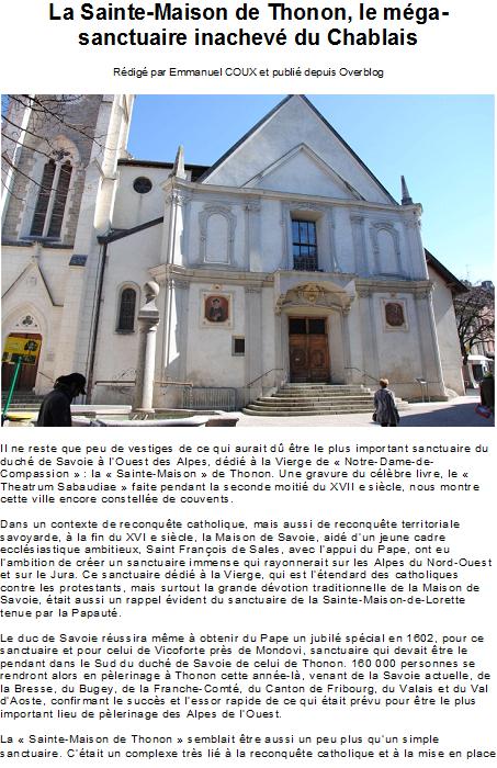 La Sainte-Maison de Thonon, le méga-sanctuaire inachevé du Chablais