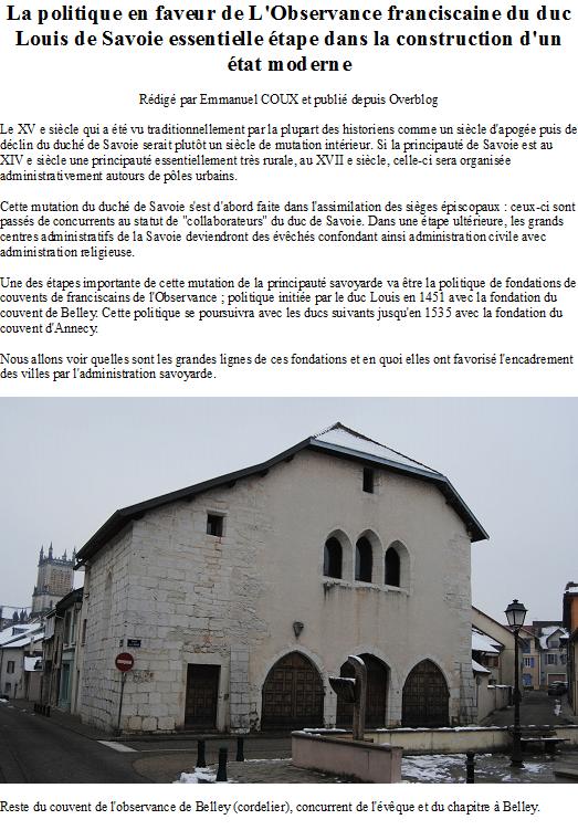 La politique en faveur de L'Observance franciscaine du duc Louis de Savoie essentielle étape dans la construction d'un état moderne