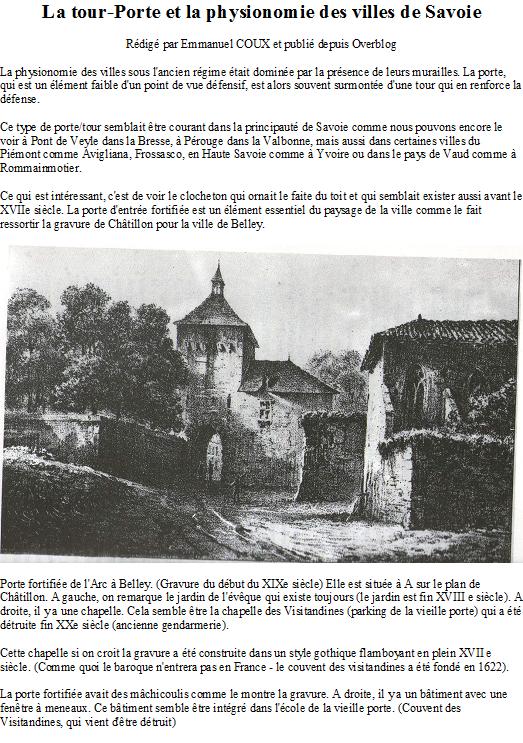 La tour-Porte et la physionomie des villes de Savoie