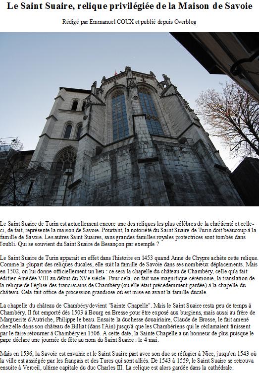 Le Saint Suaire, relique privilégiée de la Maison de Savoie