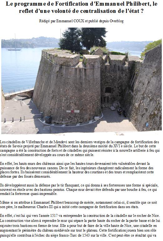 Le programme de Fortification d'Emmanuel Philibert, le reflet d'une volonté de centralisation de l'état