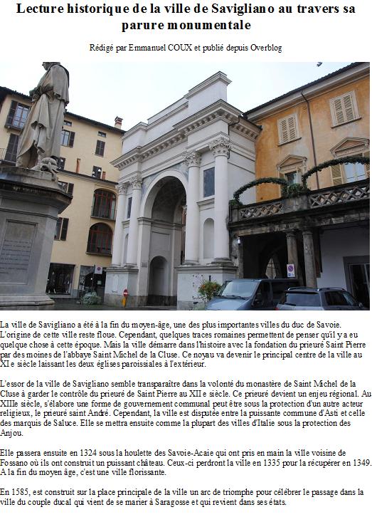 Lecture historique de la ville de Savigliano au travers sa parure monumentale
