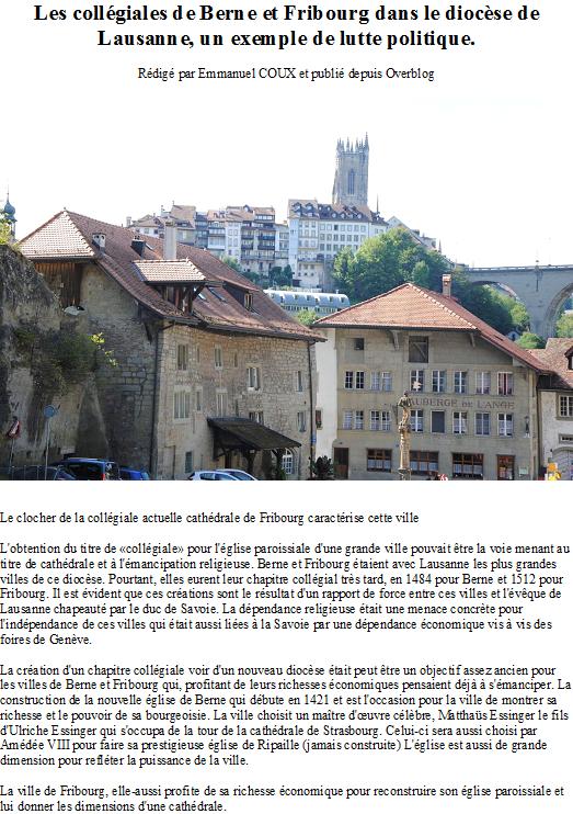 Les collégiales de Berne et Fribourg dans le diocèse de Lausanne, un exemple de lutte politique.