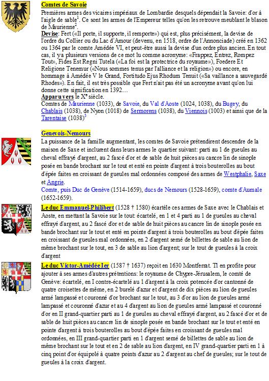 Listes des Comtes et Ducs de Savoie