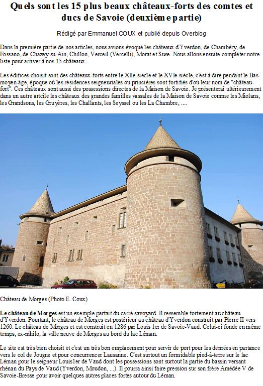 Quels sont les 15 plus beaux châteaux-forts des comtes et ducs de Savoie (deuxième partie)