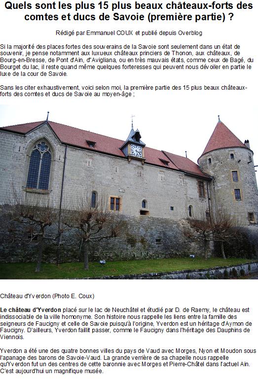 Quels sont les plus 15 plus beaux châteaux-forts des comtes et ducs de Savoie (première partie)